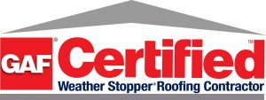 City Roofing's badge for being a GAF weather stopper certified roofing contractor